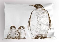 Penguen ve Yavruları Yastık Kılıfı Siyah Beyaz