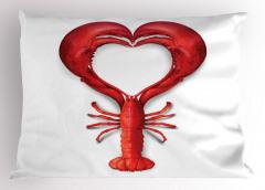 Kırmızı Kalp Desenli Yastık Kılıfı Istakoz Beyaz Aşk