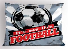 Futbol Nostaljisi Yastık Kılıfı Nostaljik Poster Mavi