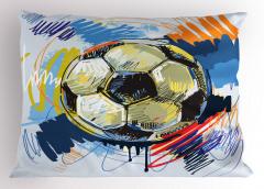 Rengarenk Futbol Topu Yastık Kılıfı Rengarenk Şık Tasarım