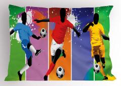 Rengarenk Futbolcu Yastık Kılıfı Futbol Temalı Spor Ombre