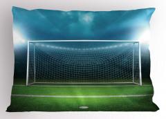 Futbol Sahası Desenli Yastık Kılıfı Yeşil Saha