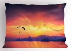 Gün Batımında Paraşüt Yastık Kılıfı Doğa Turuncu Deniz