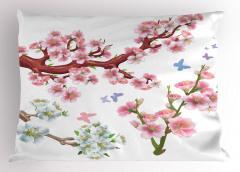 Beyaz Çiçekli Ağaç Yastık Kılıfı Doğa