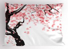 Pembe Çiçekli Ağaç Yastık Kılıfı Beyaz Fonlu