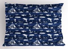 Yelkenli ve Balık Yastık Kılıfı Deniz Temalı Balık Yelken Beyaz