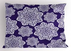 Çeyizlik Çiçekli Yastık Kılıfı Çiçekli Lacivert Şık Tasarım