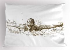 Gözlüklü Yüzücü Desenli Yastık Kılıfı Siyah ve Beyaz