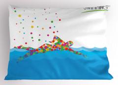 Rengarenk Yüzücü ve Deniz Desenli Yastık Kılıfı Mavi