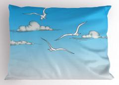 Martı ve Bulut Desenli Yastık Kılıfı Mavi Gökyüzü