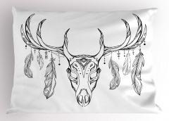 Geyik Boynuzu ve Tüy Yastık Kılıfı Siyah Beyaz