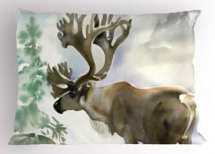 Sulu Boya Geyik Desenli Yastık Kılıfı Geyik Desenli Pastel