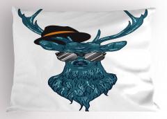 Modern Ren Geyikli Yastık Kılıfı Deniz Mavisi