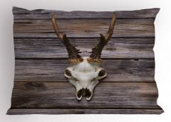 Geyik Kafatası Desenli Yastık Kılıfı Geyik Kurukafası