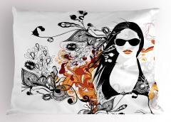Yaz ve Bikinili Kız Yastık Kılıfı Siyah Turuncu Çiçekli