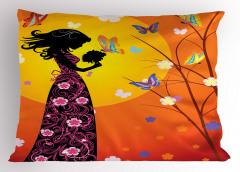 Çiçekli Elbiseli Kız Yastık Kılıfı Kelebekler Güneş Çiçekler
