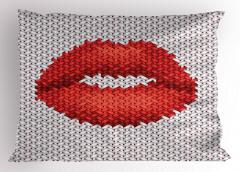 Kırmızı Ruj Desenli Yastık Kılıfı Kırmızı Ruj İzi Etkili