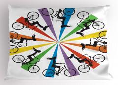 Gökkuşağı Temalı Bisikletli Kadınlar Yastık Kılıfı Bisikletli Kadınlar