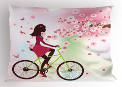 Bisikletli Kız Desenli Yastık Kılıfı Bahar Çiçekleri ve Bisikletli Kız