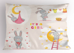 Sevimli Tavşan Desenli Yastık Kılıfı Sevimli Tavşanlı Pembe
