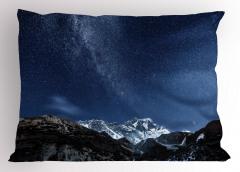 Yıldız ve Dağ Temalı Yastık Kılıfı Lacivert Gökyüzü