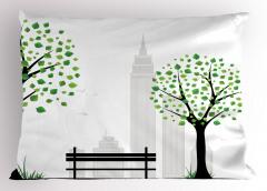 Şehir Manzarası Yastık Kılıfı Ağaç Siyah Beyaz