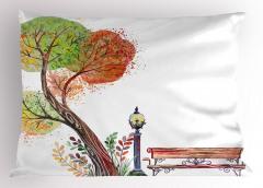 Sulu Boya Ağaç Yastık Kılıfı Sonbahar Beyaz