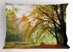 Bir Sonbahar Manzarası Yastık Kılıfı Nehir Orman Ağaç Yeşil