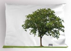 Parktaki Ağaç Yastık Kılıfı Ağaç Yeşil Beyaz