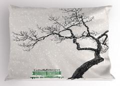 Kış Mevsimi Yastık Kılıfı Romantik Beyaz