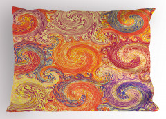 Dalga Desenli Yastık Kılıfı Turuncu Şık Tasarım Girdap