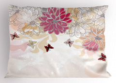 Çiçek Desenli Yastık Kılıfı Pembe Beyaz Şık Tasarım