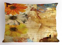 Çiçek Desenli Yastık Kılıfı Kahverengi Nostaljik Şık