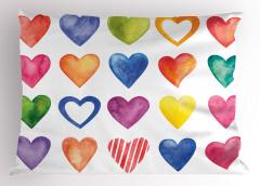 Sulu Boya Kalp Desenli Yastık Kılıfı Renkli Kalp Deseni