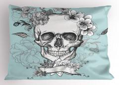 Kuru Kafa ve Çiçekler Yastık Kılıfı Kurukafa ve Çiçekler Temalı