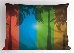 Tropikal Ada ve Palmiye Yastık Kılıfı Palmiye Ağacı Ombre