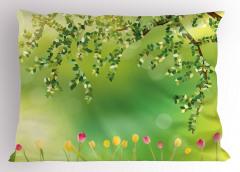 Laleler ve Ağaçlar Yastık Kılıfı Renkli Laleler Ağaç Doğa Bahar
