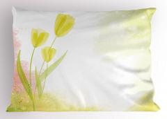 Yağlı Boya Laleler Yastık Kılıfı Yeşil Lale