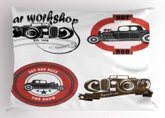 Nostaljik Klasik Araba Logoları Yastık Kılıfı Klasik Araba Logoları Retro