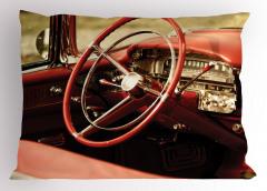 Retro Araba Yastık Kılıfı Kırmızı Klasik Araba Retro