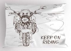 Motosiklet Yolculuğu Temalı Yastık Kılıfı Beyaz Yol