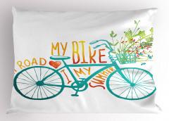 Bisiklet ve Çiçek Desenli Yastık Kılıfı Mavi Yeşil