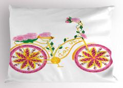 Pembe Bisiklet Desenli Yastık Kılıfı Çiçek Sarı Yeşil