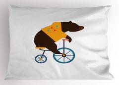 Bisikletli Ayı Desenli Yastık Kılıfı Kahverengi Mavi