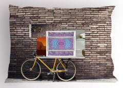 Retro Bisiklet Desenli Yastık Kılıfı Kahverengi Sarı