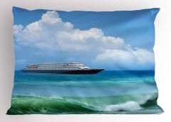 Deniz ve Gemi Desenli Yastık Kılıfı Turkuaz Dalga Plaj