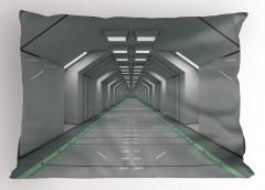 Uzay Temalı Yastık Kılıfı Bilim Kurgu Beyaz Koridor