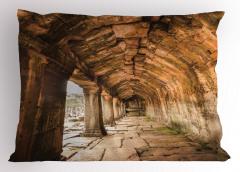 Tapınak Temalı Yastık Kılıfı Kahverengi Antik Budist