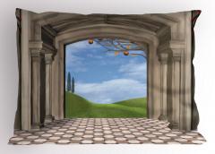 Gökyüzü Koridoru Temalı Yastık Kılıfı Bej Beyaz Bulut