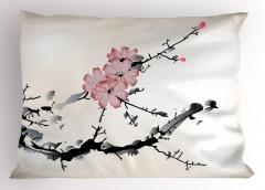 Çiçek Desenli Yastık Kılıfı Bej Pembe Siyah Çeyizlik